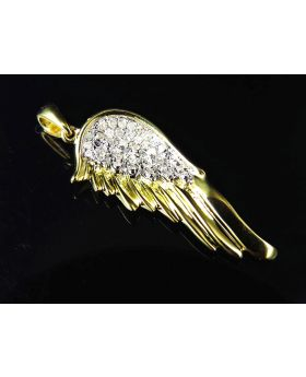 Genuine Diamond Single Angel Wing Pendant In Yellow Gold Finish (0.20ct) 1.25""
