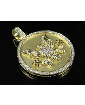 10K Yellow Gold American Eagle Marines Medallion Diamond Pendant 1Ct 1.5""