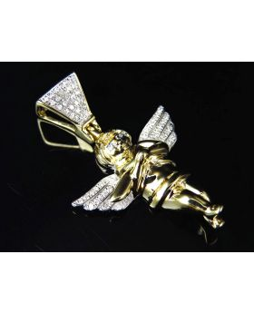 "10K Yellow Gold Genuine Diamond Happy Angel Pendant Charm 1.5"" (0.25ct)"