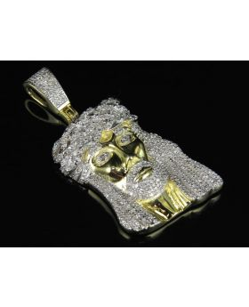 Yellow Gold Finish Jesus Face Real Diamond Pendant Charm .75ct