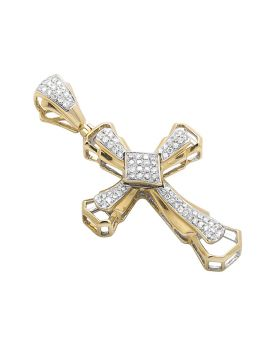 Yellow Gold 1.5 Inch Genuine Diamond Pave Cross (.60 Ct)