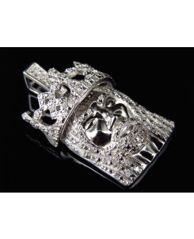 Genuine Diamond Mini 3D King Jesus Pendant in White Gold Finish (.60 Ct)