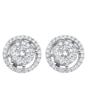 14K White Gold Double Halo Solitaire Accent Diamond Stud Earrings 2.0ct
