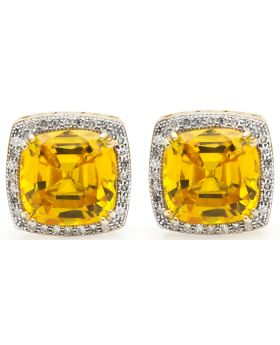 10K Yellow Gold Topaz Milgrain Diamond Studs Earrings 0.25ct.