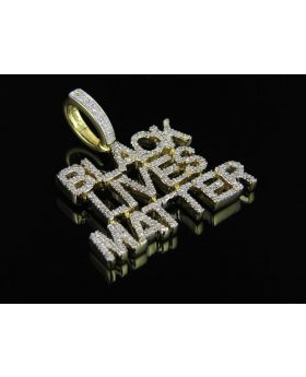 Yellow Gold Finish Real Diamond Black Lives Matter Pendant .75ct