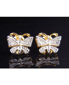 Genuine Diamond Butterfly Shape Earring in Yellow Gold Finish