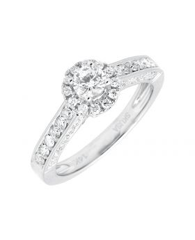14K White Gold Halo Solitaire Diamond Engagement Wedding Ring 1.0ct