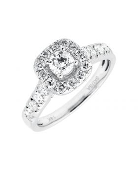 14K White Gold Cushion Halo Solitaire Diamond Engagement Ring 1.0ct
