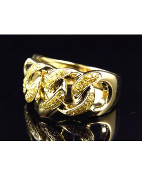 10k Yellow Gold Genuine Canary Diamond Cuban Link Pinky Ring (0.38ct)