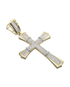 "10K Yellow Gold Pave Set Gothic Design Cross Charm Pendant 1.75"" .75ct"