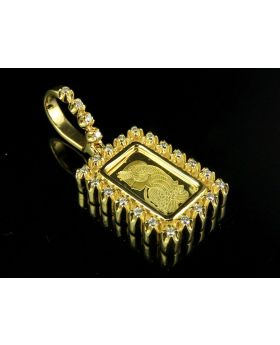 10K Yellow Gold Lady Fortuna Bar Diamond Pendant .50 CT 1.2""