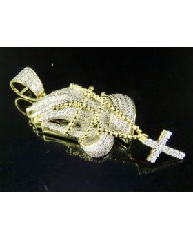 10K Yellow Gold Praying Hand Rosary Beads Diamond Pendant 1.5 CT 1.5""