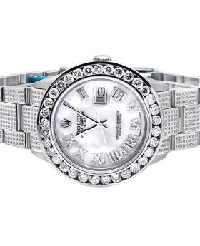 Mens Rolex Date Just Full Diamond Oyster Perpetual Watch (10.5 ct)