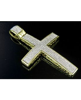 "Sterling Silver Yellow Gold Finish Real Diamond Dome Cross Pendant 2.5"" 1.25ct"