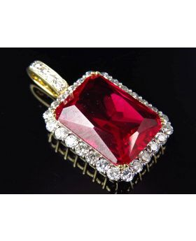 10K Yellow Gold Genuine Diamond Bezel Simulated Ruby Center Pendant (3.0 Ct) 1.5""