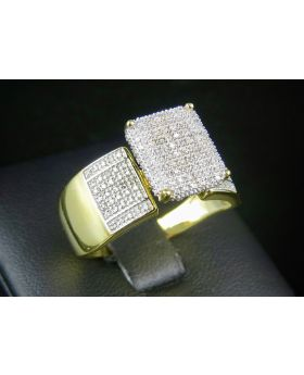 Men's Sterling Silver Yellow Gold Finish Real Diamond Square Ring .50ct