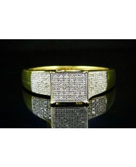 Yellow Gold Finish Real Diamond Ladies Square Ring .50ct