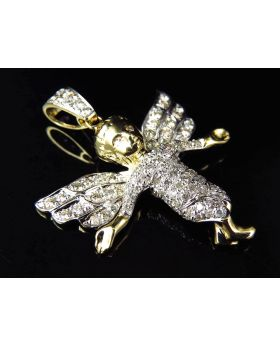 """Fully Iced Out 10K Yellow Gold Genuine Diamond Angel Pendant 1.5"""" (0.75ct)"""