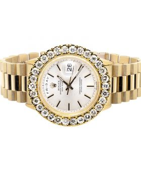 Rolex President 18k Yellow Gold Day-Date President Diamond Watch (7.5 ct)