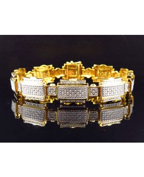 Genuine Diamond Puzzle Link Style Bracelet In Yellow Gold Finish 14MM (1.25Ct)