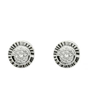 White Gold Finish 6MM Starburst Frame Diamond Stud Earring 0.10ct.