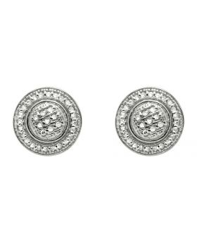 White Gold Finish 8MM Milgrain Halo Frame Diamond Stud Earring 1/4ct.