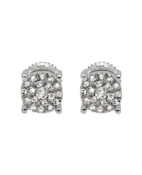 10K White Gold Solitaire Accent 6MM Halo Flower Diamond Stud Earring 1/2ct.