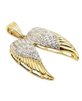 Yellow Gold Finish Open Angel Wings 1.25 Inch Diamond Pendant 0.25ct