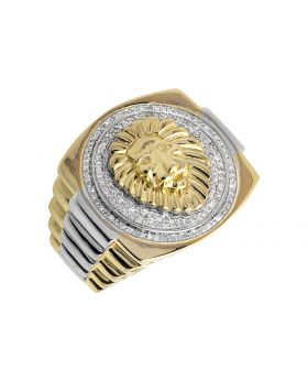 10K Yellow Gold Step Shank Lion Head Diamond Exclusive Ring 1/2ct