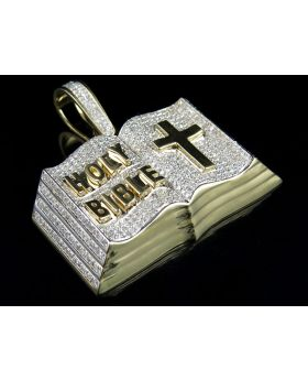 10K Yellow Gold Holy Bible Iced Out Pendant 2ct