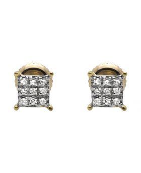 10K Yellow Gold Four Prong Square Kite 4MM Diamond Stud Earring 0.08ct.