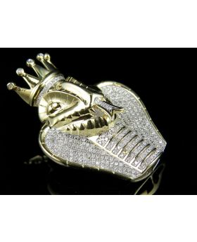 10K Yellow Gold 3D Crowned King Cobra Diamond Pendant 1.25ct