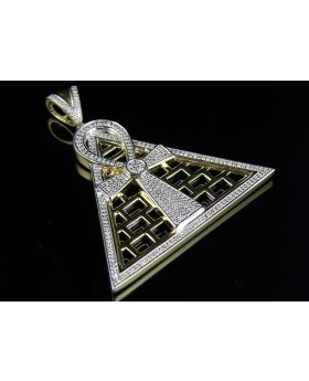 Men's 10K Yellow Gold Egyptian Ankh Cross Diamond Pendant 1ct 1.8""