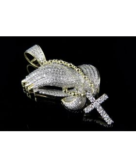 10K Solid Yellow Gold Praying Hand Rosary Beads Real Diamond Pendant 1.25ct 1.7""