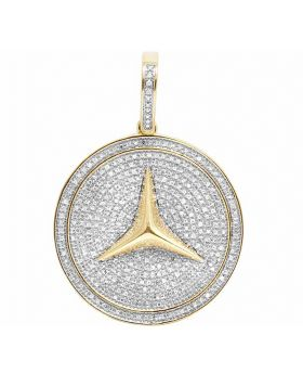 10K Yellow Gold Mercedes Medallion Real Diamond Iced Pendant 1 CT 1.5""