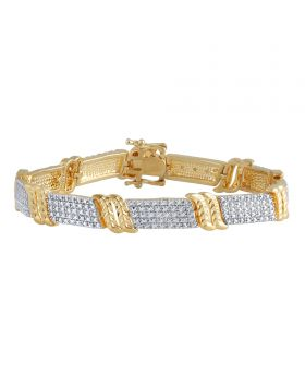 Two Tone Plated Brass Bracelet with Pave Diamond Accents
