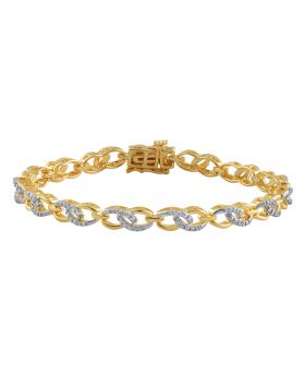 Ladies Bracelet Cable Link Yellow Gold Finish brass with Diamonds 0.02ct