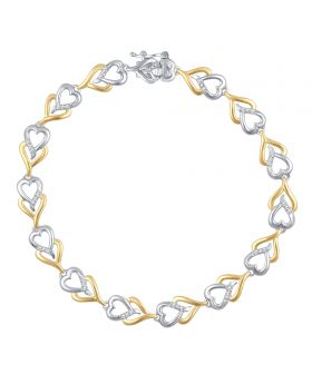 Two Tone Gold Plated Brass Heart Bracelet
