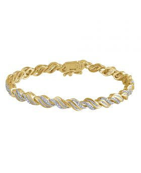 Ladies Fashion bracelet with Genuine Diamonds in Yellow Gold Finish Brass 1/4 ct