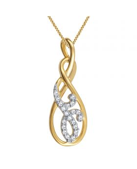 Yellow Gold Finish Infinity Pendant with Diamonds and Accents