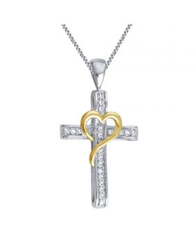 White Gold Finish Cross Necklace with Heart and Diamond Accents