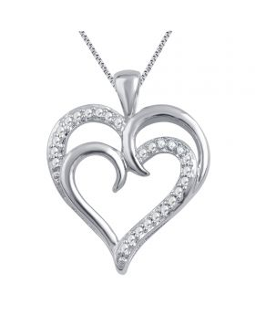White Gold Plated Dual Heart Diamond Pendant 0.02ct
