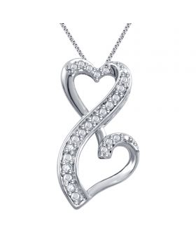 White Gold Plated Double Heart Diamond Pendant 0.03ct