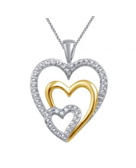 Two Tone Gold Plated Triple Heart Diamond Pendant 0.03ct