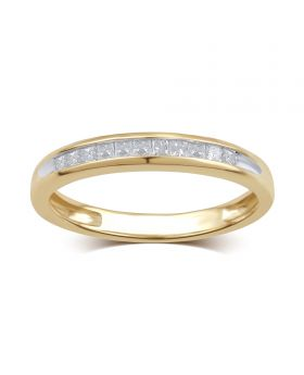 10K Yellow Gold Channel Set Princess Cut Diamond Ring 0.25CT