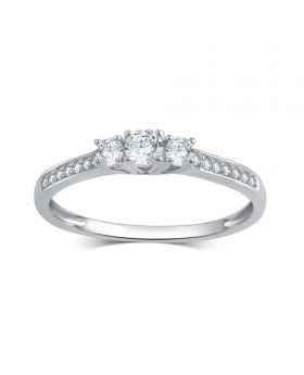 10K White Gold Round Cut 3-Stone Diamond Ring 0.25CT