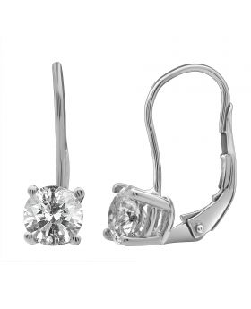 14K White Gold Real Diamond Solitaire LeverBack Earrings 1.0ct
