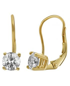 14K Yellow Gold Real Diamond Solitaire LeverBack Earrings 1.50ct
