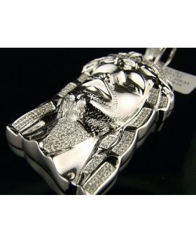 Mens White Gold Finsh Diamond Jesus Piece Face Cross 1.50 Ct