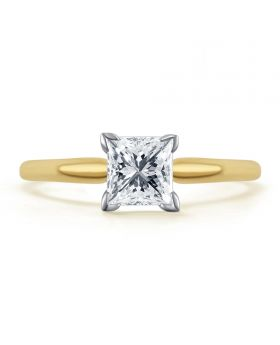 14k Yellow Gold Princess Solitaire 1/2 ct Diamond Engagement Ring